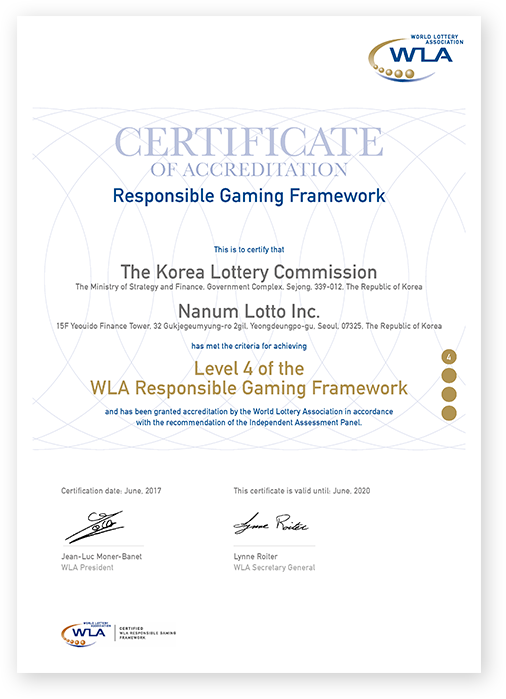 Outline of Responsible Gaming Framework Certifications (WLA-RGF)